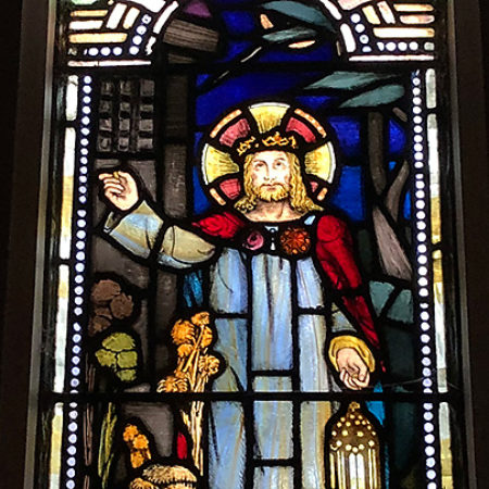 A stain glass window at Canterbury Presbyterian Church